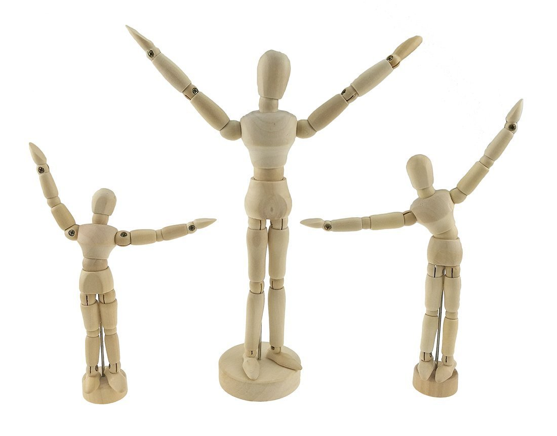 Set of 3 Wood Mannequin Articulated Mannequin with Base Wood Fully Jointed Movable Manikin Artist Mannequin for Sketching Drawing Winterworm