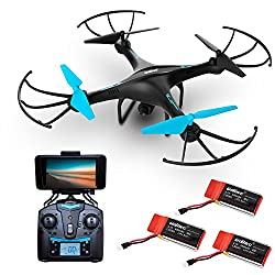 "Force1 Drone With Camera Live Video - ""U45w Blue Jay"" Wifi Fpv Drones With Camera For Adults & Kids + 3 Rc Drone Batteries & Camera Drone Power Bank"