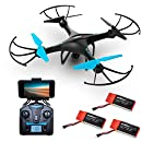 Drone with Camera Live Video - Upgraded U45W Blue Jay WiFi FPV Remote Control HD Camera Drones with 3 Batteries Altitude Hold - 1 Key Control VR RC Drone Quadcopter