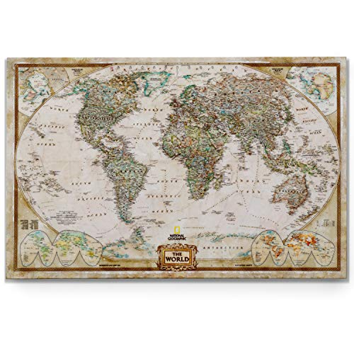 World Travel Map Wall Art Collection Executive National Geographic World Travel Map Canvas Prints Wrapped Gallery Wall Art |Ready to Hang, 36X48, Watercolor