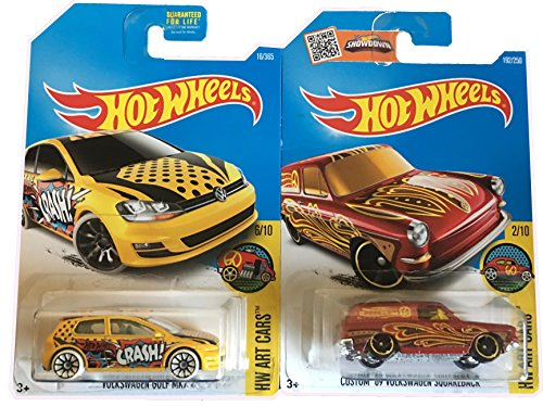 Hot Wheels Volkswagen Golf MK7 & Custom 1969 Volkswagen Squareback 2-Car Bundle