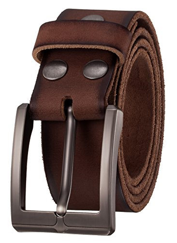 (KEEPBLANCE Men's Genuine Leather Casual Dress Belt with Single Prong Buckle (1.5
