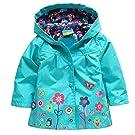 Arshiner Girl Baby Kid Waterproof Hooded Coat Jacket Outwear Raincoat Hoodies 2-6 Y,Blue,90(Age for 1-2Y)
