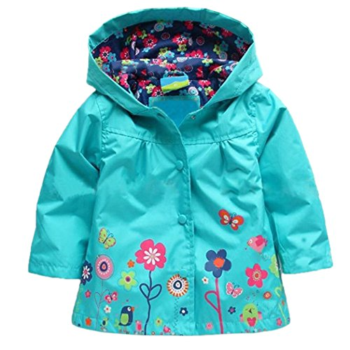 Arshiner Girl Baby Kid Waterproof Hooded Coat Jacket Outwear Raincoat Hoodies 120(Age for 4-5Y),Blue Hooded Girls Raincoat