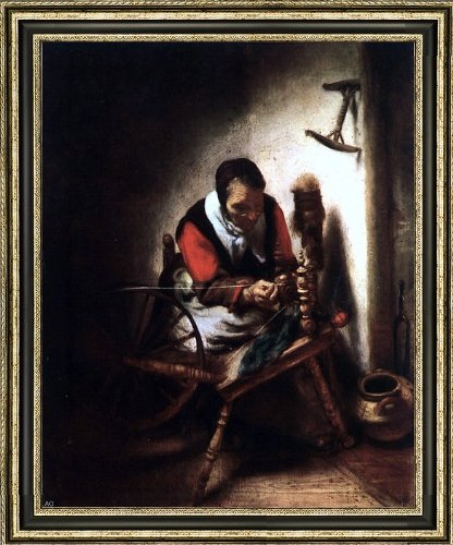 """Nicolaes Maes A Woman Spinning - 20"""" x 25"""" Framed Premium Canvas Print"""
