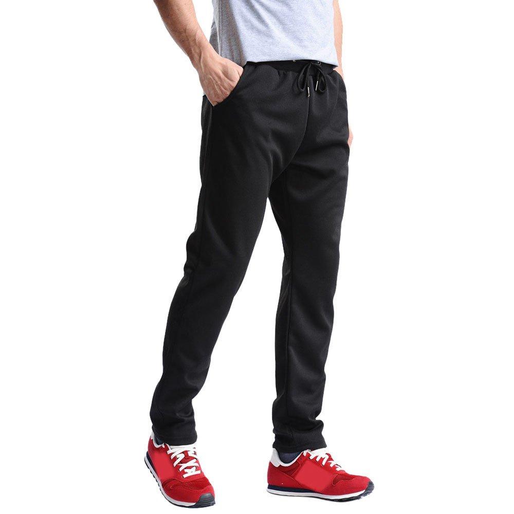 Hunzed Men【Cotton Loose Sweatpants】Men's Joggers Open Bottom Light Weight Jersey Pants (2XL, Black)