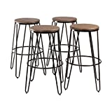 Kate and Laurel Tully Backless Modern Wood and Metal 30'' Bar Stools, Set of 4, Black with Wood Seat