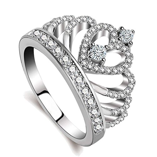 FIVE CENTS Princess Queen Crown Rings Heart Cubic Zirconia Sterling Silver Plated for Women Girl Size 7 Jewelry