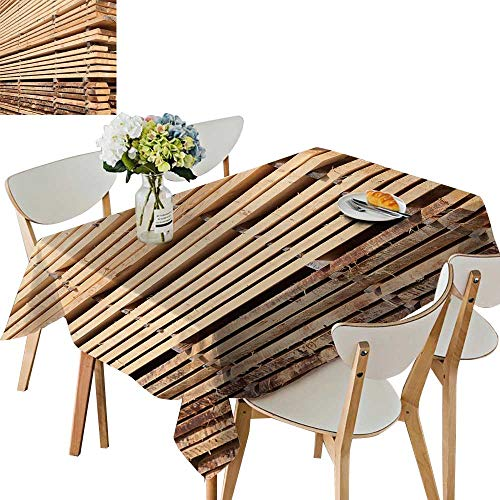 (UHOO2018 Decorative Tablecloth Stack New Wooden Studs at The Lumber yar Square/Rectangle Kitchen Tablecloth Picnic Cloth,50 x109inch)