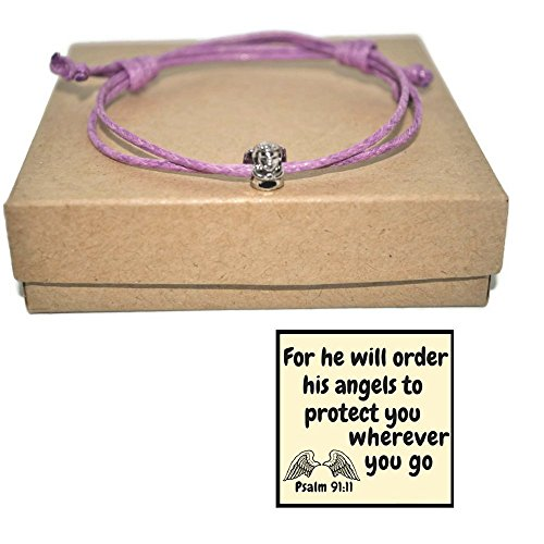 Minimalist angel waxed cord bracelet and Psalm scripture note (Angels Note Card)