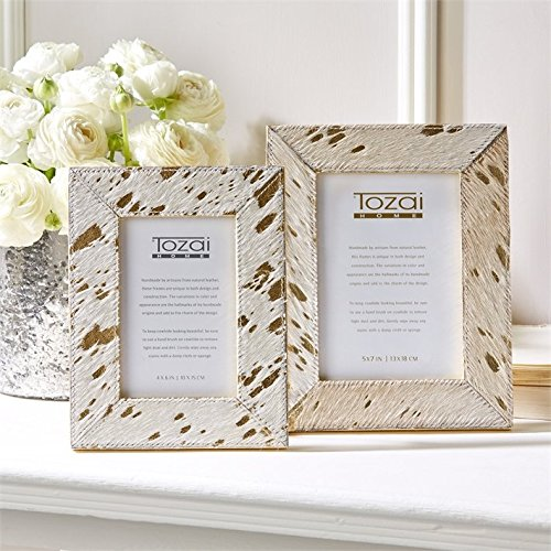 Tozai Golden Natural Cowhide Set of 2 Photo Frames with Metallic Gold Back Cowhide Picture Frame