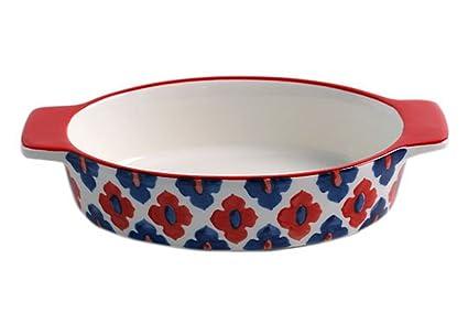 Koala Superstore Cocina de cerámica Redonda Panadería de la Cocina Bandejas de la Magdalena Rojo Flores