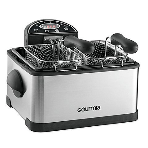 Gourmia Tri-Basket 4.2 qt. Stainless Steel Exterior Deep Fryer with Digital Display and Activated Carbon FryFilter That Eliminates Odors in the Kitchen