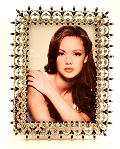 Ciel Collectables Karina Picture Frame with Hand Set Clear & Black Swarovski Crystal, High Quality Silver Plating Over Solid Pewter Base, Brown Color Stylish Silk Back Have Two Way Easel, Holds 5 x 5, 5 x 7 Inch Pictures