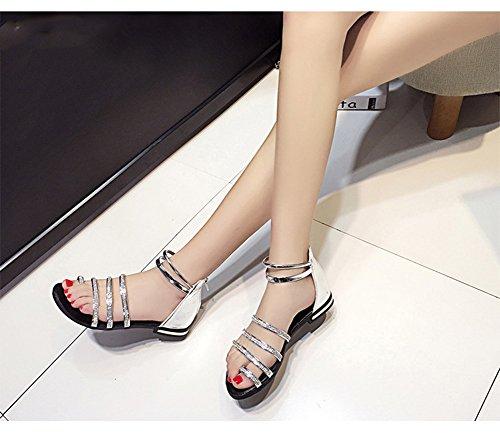Scothen Sandalias de tacón Casual tarde Peep Toe mujeres de las sandalias planas de la hebilla de las sandalias romanas sandalias planas del Rhinestone correa del clip zapatos deslizadores de Bohemia Silver