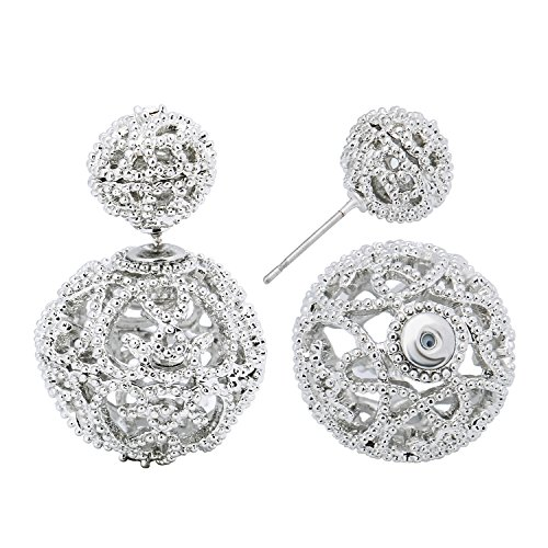 SheLian Vintage Hollow out Womens Double Side Round Ball Stud Earrings(White Gold Tone)