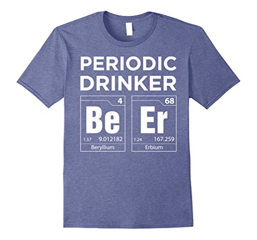 Mens Periodic Table Beer Drinker Nerdy Graphic T-Shirt Medium Heather - Table Beer Table Beer