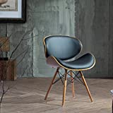Corvus Madonna Mid-century Black Faux Leather Upholstered Walnut Finished Living Room Chair