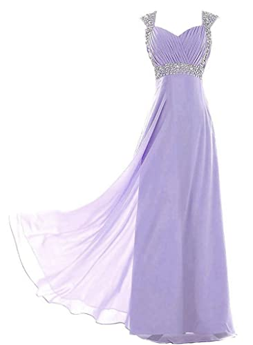 Vantexi Women's Beaded Straps Chiffon Long Prom Bridesmaid Dress