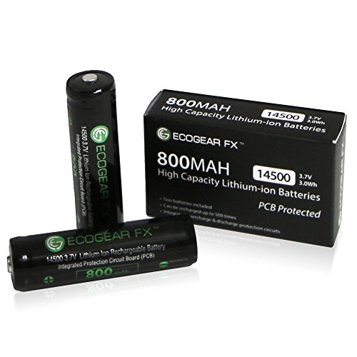 EcoGear FX 14500 800mAh Rechargeable Lithium-ion Batteries, 2-Pieces with Protection Circuit Board (PCB) Designed for Flashlights