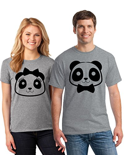 Pekatees Couple Shirts Panda Face Cute T Shirt For Couples Couple Matching Shirts Valentine Gifts For Couples Grey Grey Men XXX-Large/Ladies Large by Pekatees