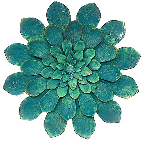 S.T.C. Succulent Flower Cactus Colorful Plant Petal Sculpture Metal Room Home Wall Art Decor Inside Outside 9.5