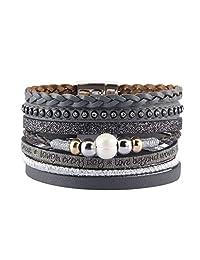 COOLLA Braided Wrap Bracelet Pearl Beads Leather Cuff Bangle Women Bracelet