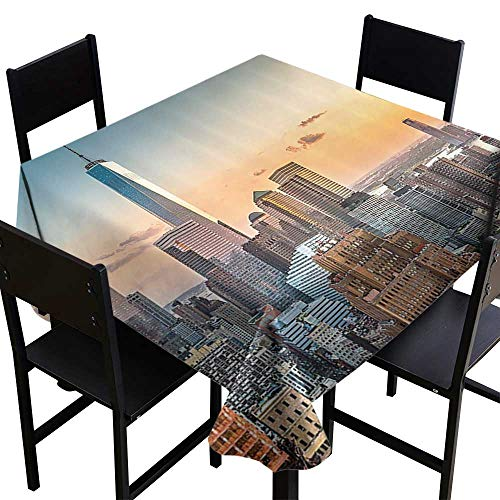 OUTDRART Table-Cloth Home Decoration Cityscape Decorations Collection,New York City Skyline NY Windows Opening to Manhattan Colorful Waterproof,Navy Orange,W54 x L54 for Cards ()