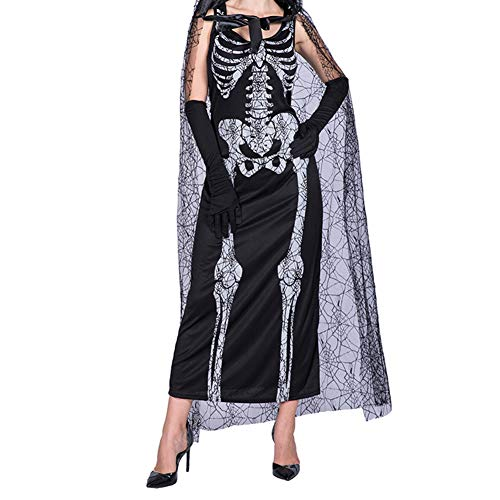 Halloween Skeleton Ghost Bride Costume, S.Charma Bones Cloak Cosplay Dress Up for Women