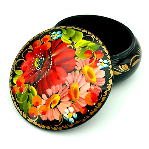 UACreations Gift Jewelry Box for Earrings, Necklace, Rings, Round Wooden Case with Hand Painted Flowers on Black Lacquer, for Girls and Women, Made in Europe - Red Rose Acryl