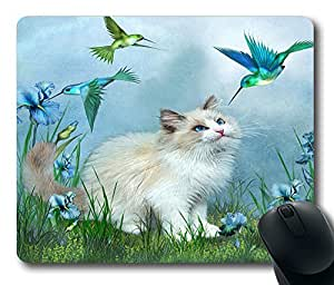 "Ragdoll Kitty And Hummingbirds Custom Rectangle Mouse Pad Oblong Gaming Mousepad in 220mm*180mm*3mm (9""*7"") -922037"