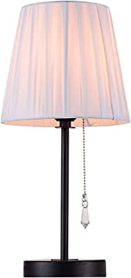 Lanros Fabric Shade Table Lamp with Crystal Pull Chain Switch and Metal Lamp Base, Simple Style Night Stand Lamps and Modern Bedside Light for Bedrooms,Living Room, Hotel
