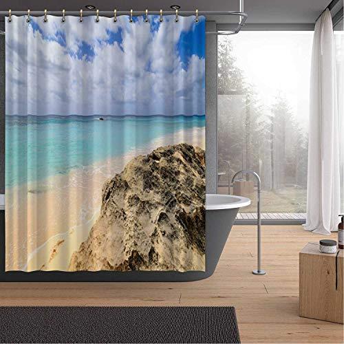 A Beach on Bermuda Bath Curtains Shower,142515 for Hotel,72''W x 72''H