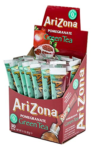 - AriZona Pomegranate Green Tea Iced Tea Stix Sugar Free, 30 Count Box (Pack of 1), Low Calorie Single Serving Drink Powder Packets, Just Add Water for a Deliciously Refreshing Iced Tea Beverage