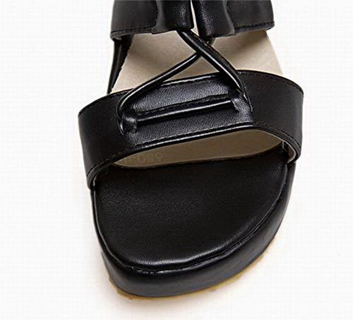 Lacet Talon Correct Unie TSFLH006520 Noir Couleur à Femme Sandales AalarDom BvwxW5Hw4q