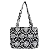 Waverly Triple Entry Satchel (Quilted Black/White Paisley)