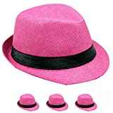 List A Banded Straw Fedora Hat for Kids Trilby Gangster Panama Classic Vintage Short Brim Style (Pink)