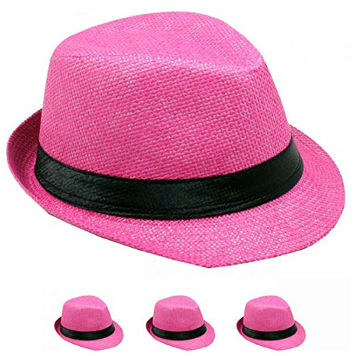 List A Banded Straw Fedora Hat for Kids Trilby Gangster Panama Classic Vintage Short Brim Style (Pink) by List A