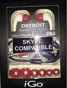 iGo 48004140 Detroit Earbuds, White/Red