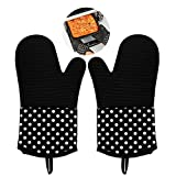 Vilapur Silicone Oven Mitts - Heat Resistant to 572 °F Kitchen Oven Gloves for Cooking, Baking, Barbebue Potholder, Cooking Gloves 1 Pair, Black