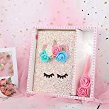 JUNIQUTE Unicorn Stationery Gift Set-Unicorn Journal Notebook Gel Pens with Light, Birthday Party Favors School Supplies for Kids Girls(Pink)