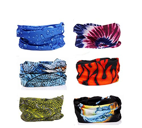 Delicol 6pcs Assorted Seamless Outdoor Sport Bandanna Headwrap Scarf Wrap(9 Color Choices)