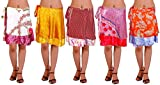 Lot of Five Wrap-Around Vintage Sari Magic Skirts - Art Silk