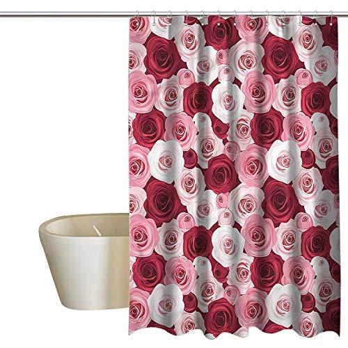 Denruny Blue Shower Curtains for Bathroom krakken Rose,Ornamental Flower Arrangement,W72 x L72,Shower Curtain for Girls