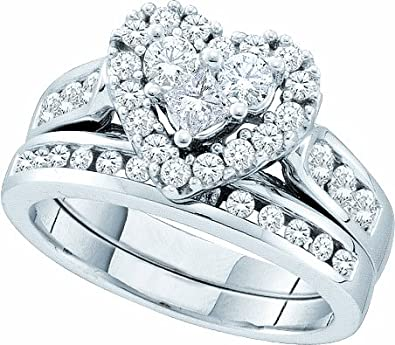 Amazon.com: Ladies 14k White Gold 1.04 Ct Round Cut Diamond Heart