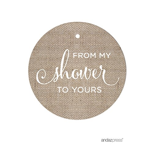 Andaz Press Baby and Bridal Wedding Shower Round Circle Party Favor Gift Tags, From My Shower to Yours, Burlap Print, 24-Pack -