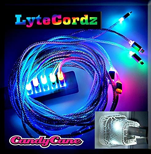 0cf39ae31 LYTECORDZ Multicolor Rainbow Light Up LED Charging Charger Cable Cord with  Light UP USB Wall Plug