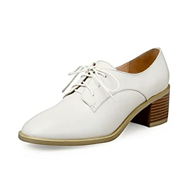 ead5814778 Amazon.com | Nine Seven Genuine Leather Women's Oxfords Pumps - Pointed Toe  Chunky Heels - Handmade Comfort Pumps with Shoelaces | Oxfords