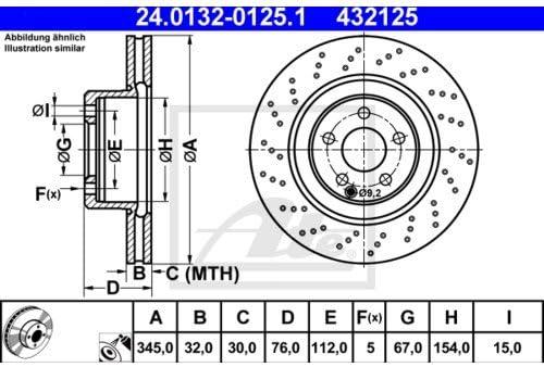 2x ATE BREMSSCHEIBEN /Ø345 mm SET VORNE