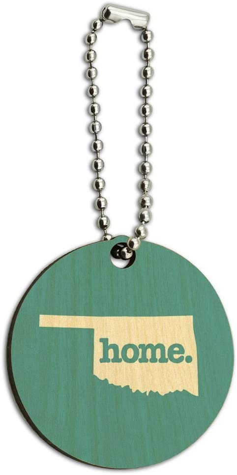 Solid Robin Egg Blue Oklahoma OK Home State Wood Wooden Round Key Chain